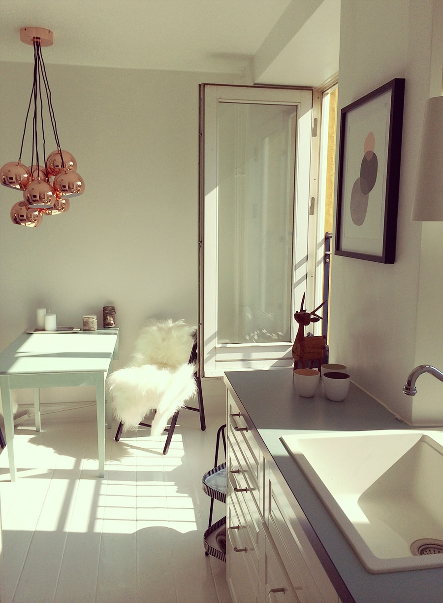 Kitchen & Living room, is filled with sunlight from the french doors all day long.