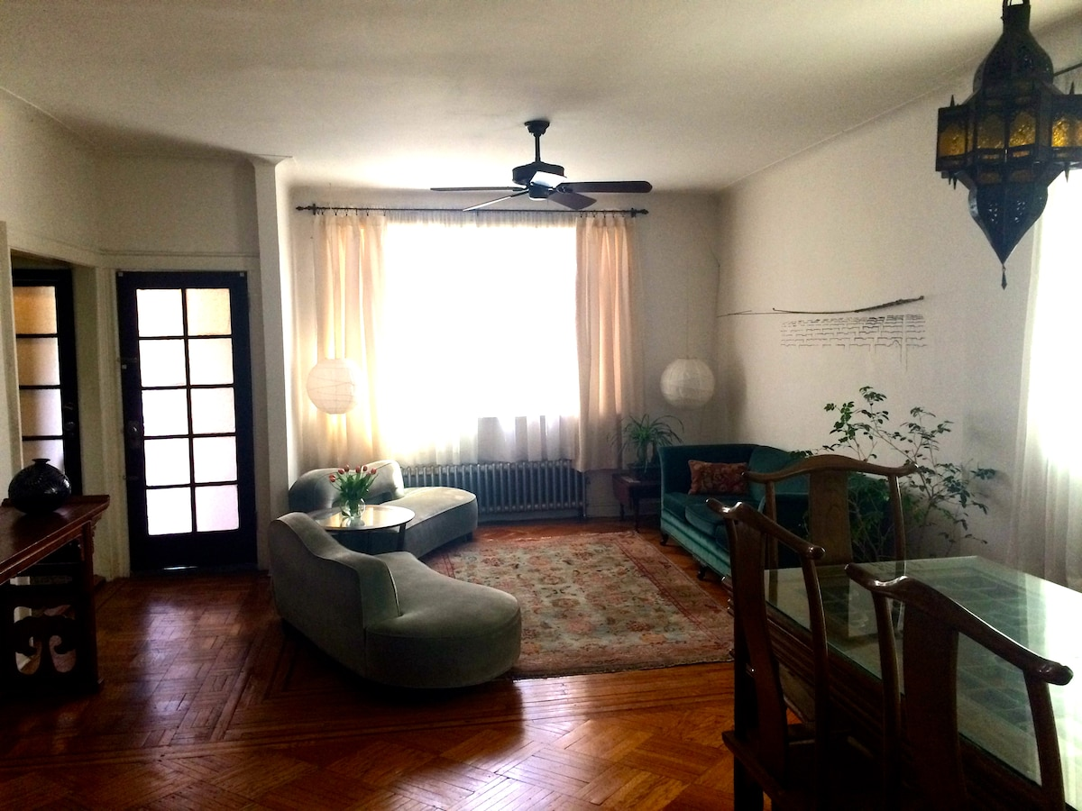 Living room. Three comfortable 1930's era couches. Front door to the street at left. Wish we were better with plants, alas. The jasmine has seen better days.