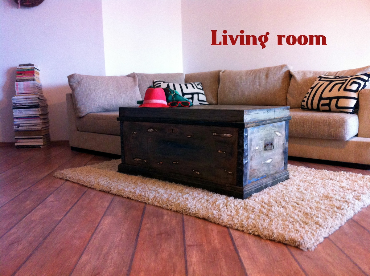 We put a beautiful antique trunk as a coffee table to add another designer touch to the living room