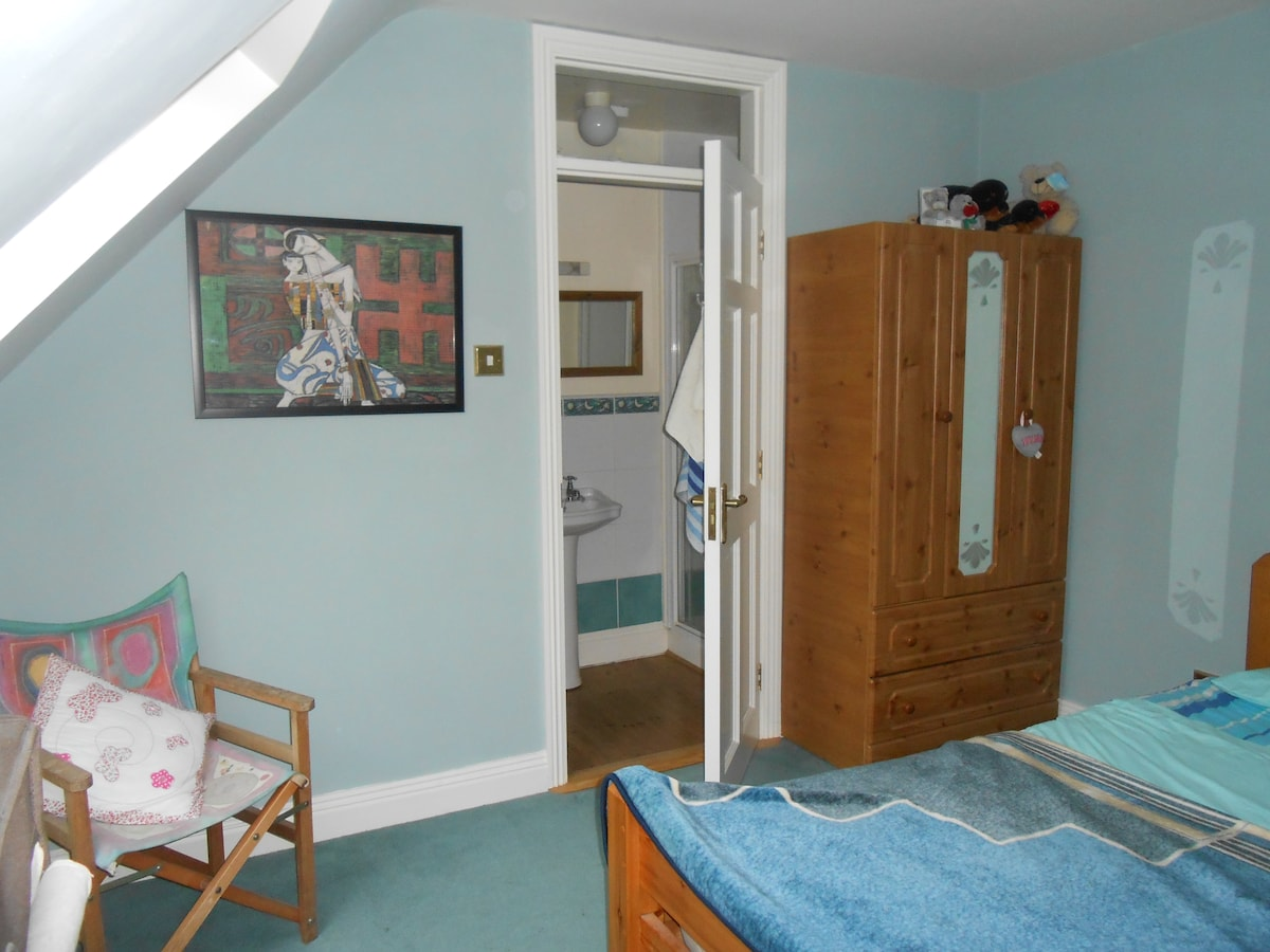 Blue-room with lovely Jim Fitzpatrick print.