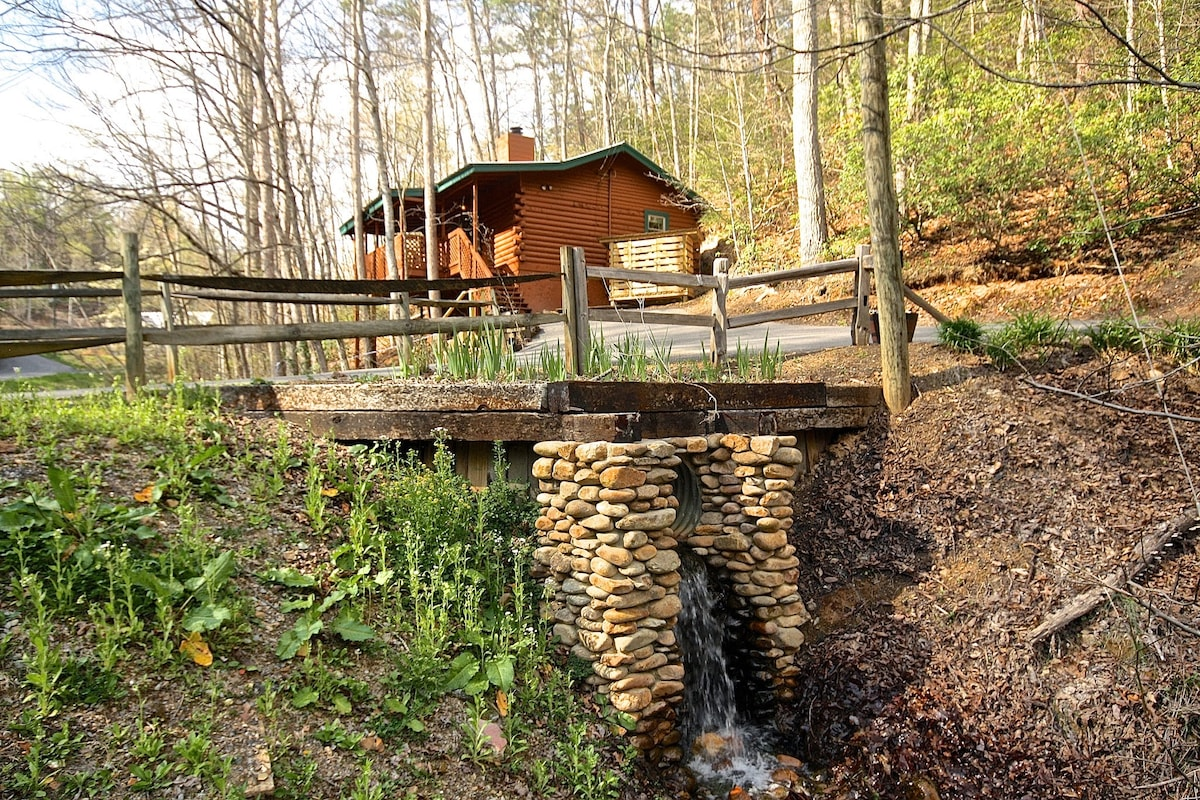 Pond overflow is a Waterfall, near the horse shoe pit!  Runs strong all year.