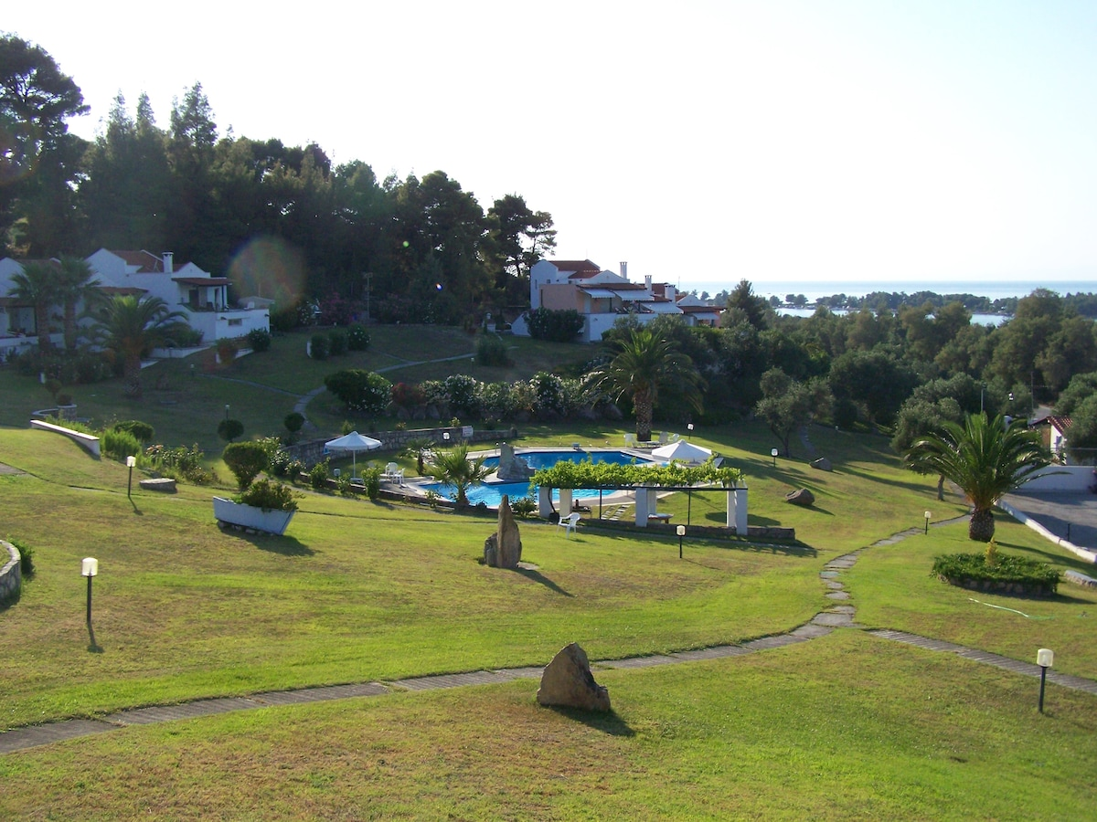 View of the house. Garder and swimming pool