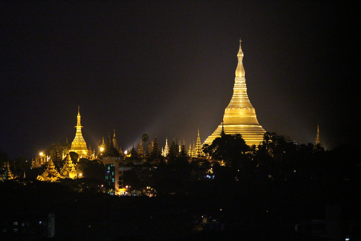 Close-up view over Shwedagon at night.