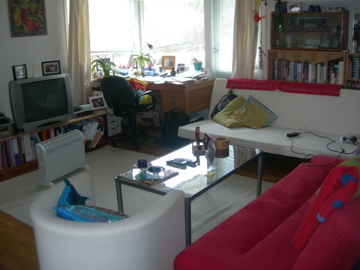 Sitting room, with door out to the terrace. Wireles internet throughout the apartment