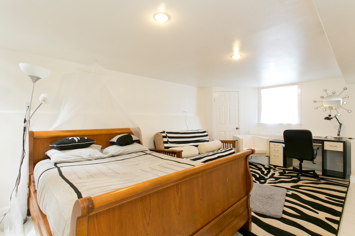 downstairs bedroom /family room with TV (netflix,comcast) queen bed and queen size futon