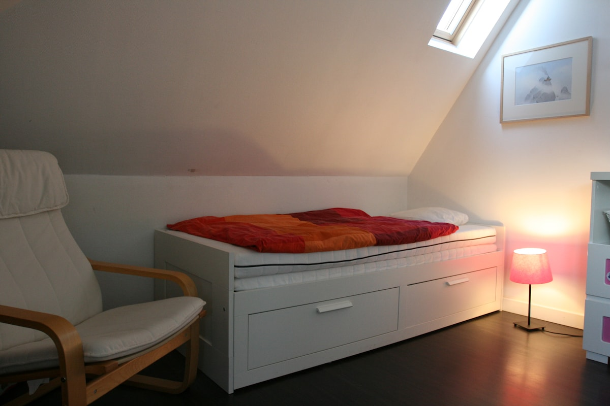 Your room. Single bed can be made double.