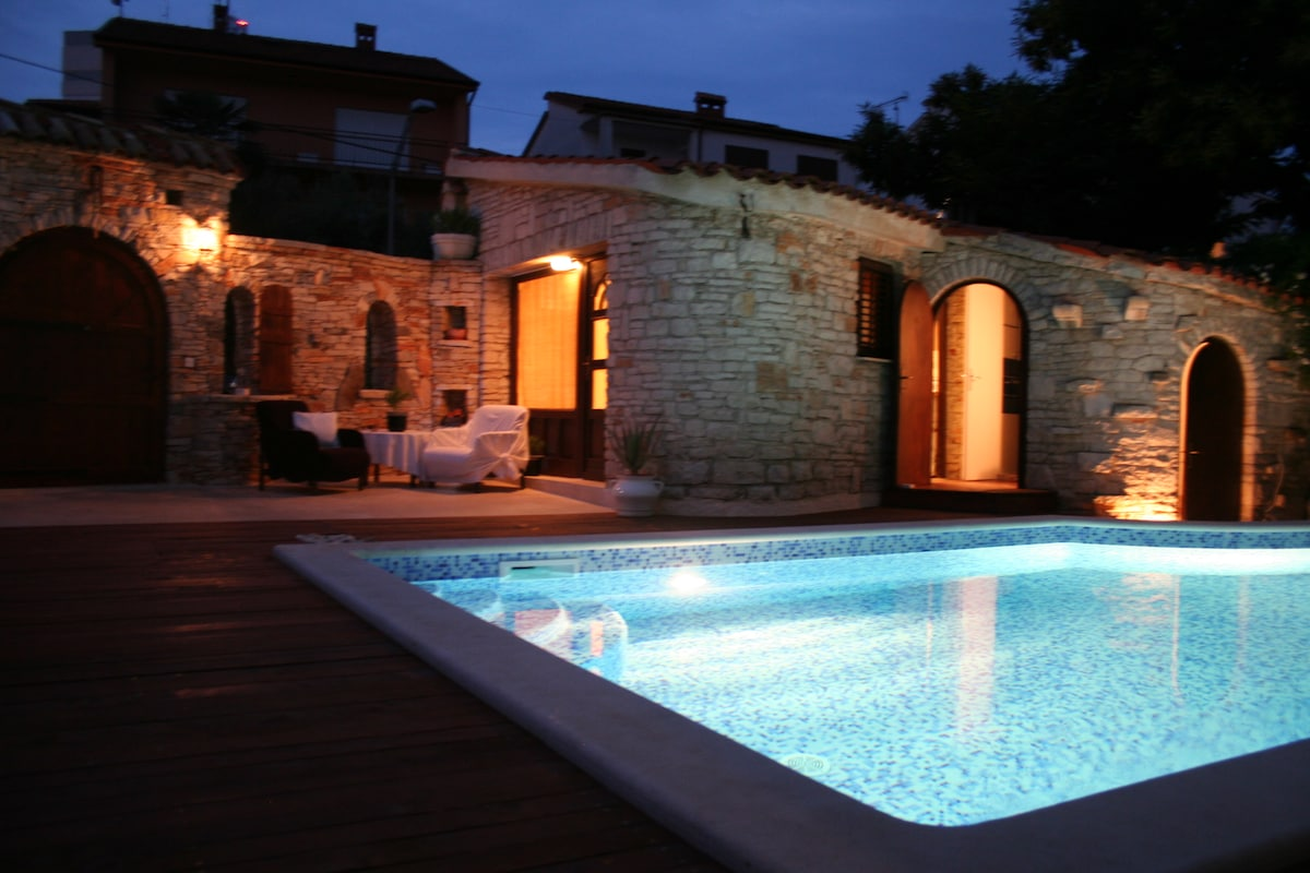 Swimming pool at night. Heated