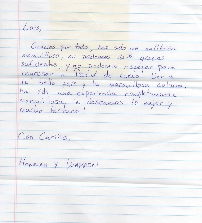 Message Hannah & Warren from New York - USA