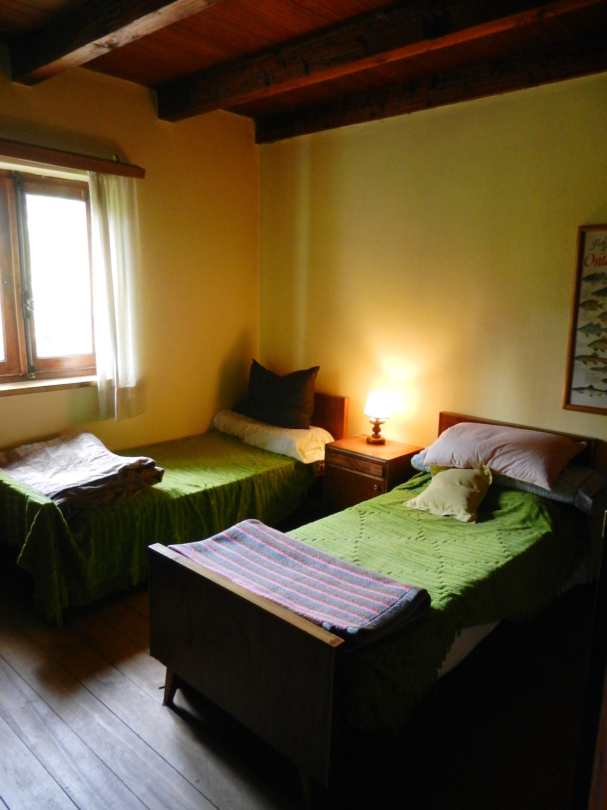 Twin bedded room, with garden and lakeview