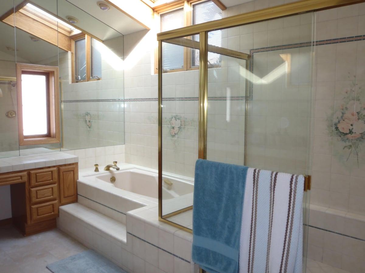 Large master bath with soaking tub and large shower
