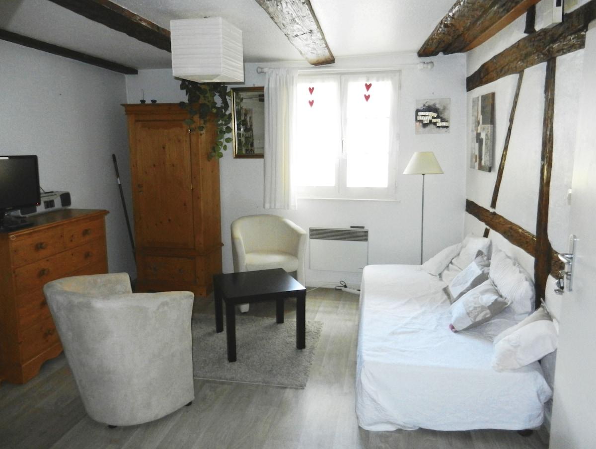Un salon très cosy avec poutres apparentes