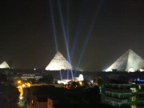 Pyramid view from the roof of our building