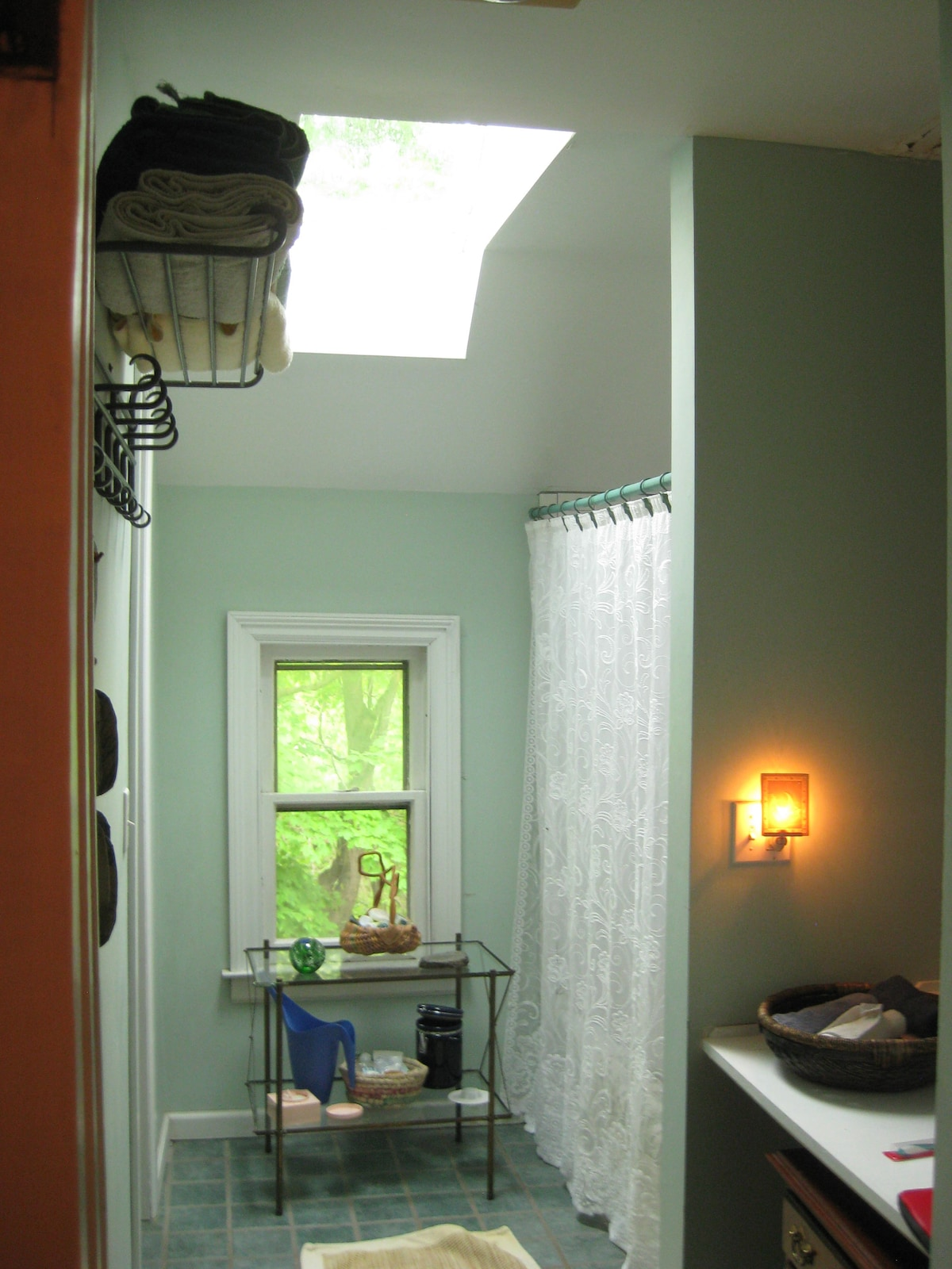 Bathroom shared by treehouse room and dorm room
