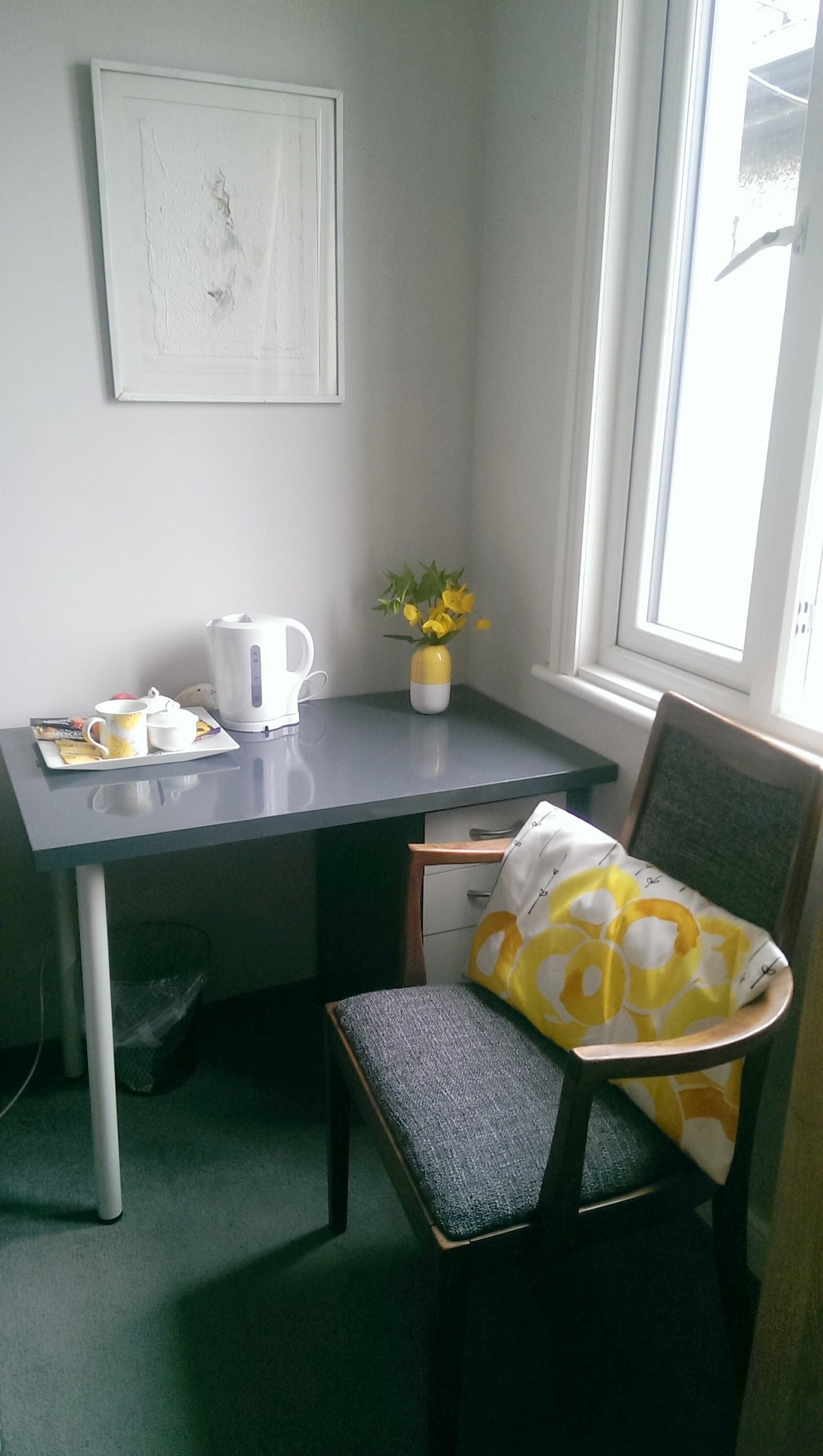 desk space, with tea coffee, kettle etc