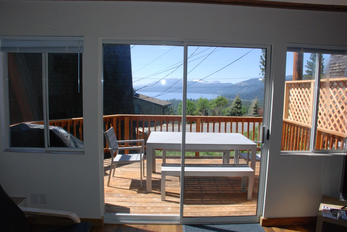 Lake view from the living room and front deck.