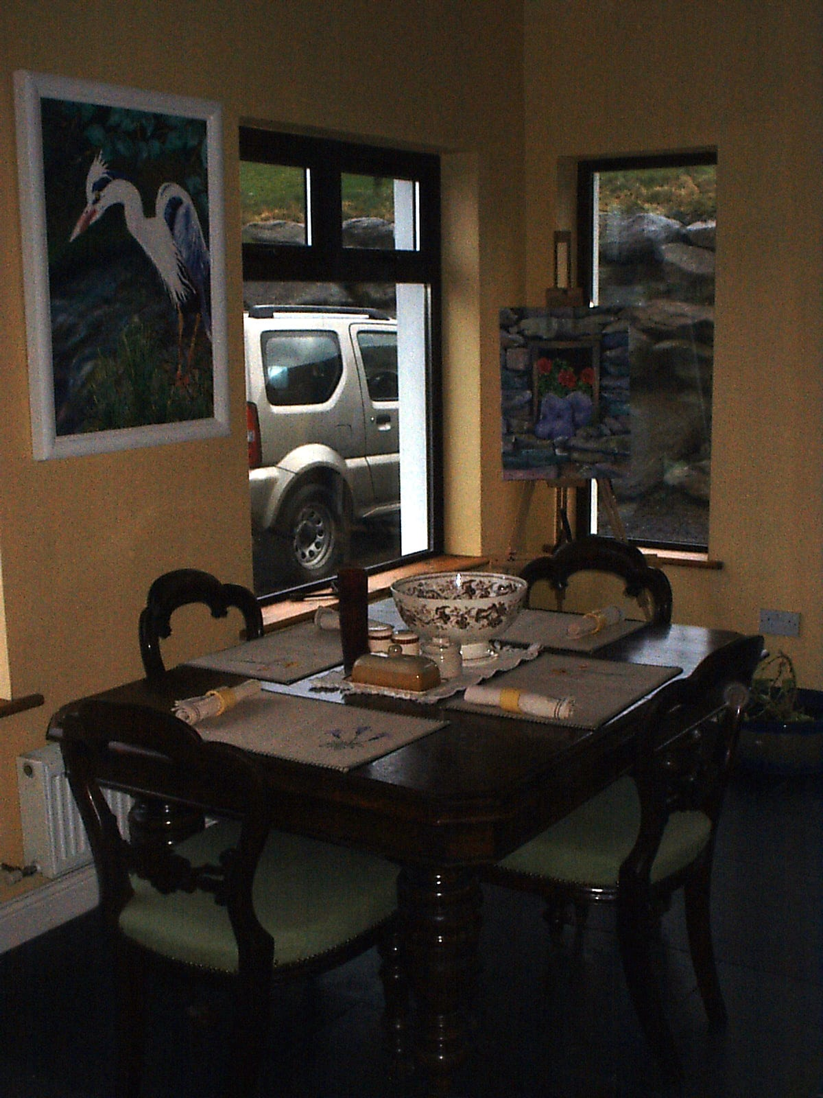 Breakfast room with views of lambs in the adjacent field.