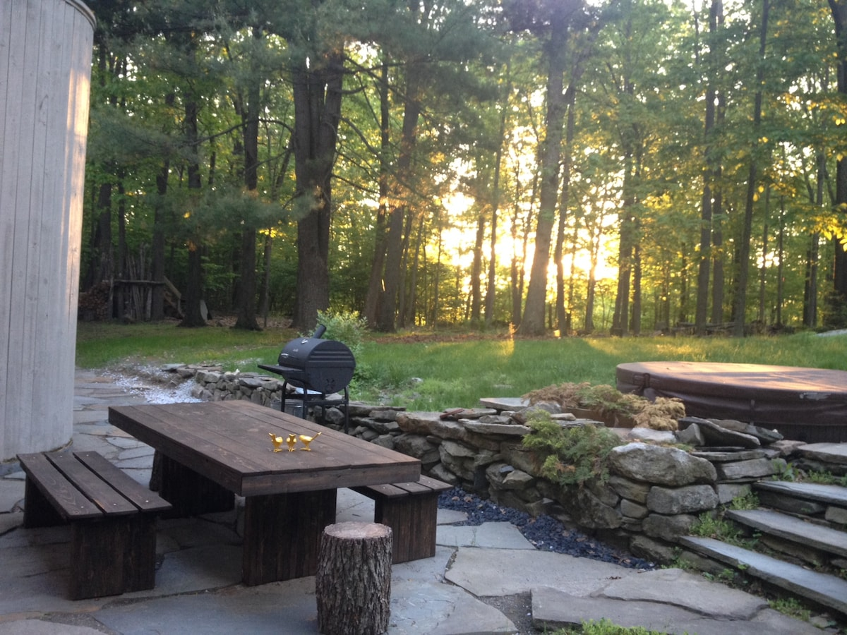 Charcoal Grill and picnic table is all yours!