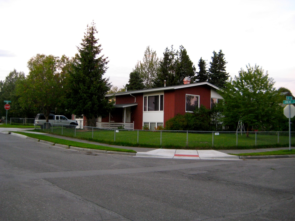Our home is in a long established residential neighborhood and has the unique feature of being located on 2 corners, so we have only one next door neighbor. Very quiet!