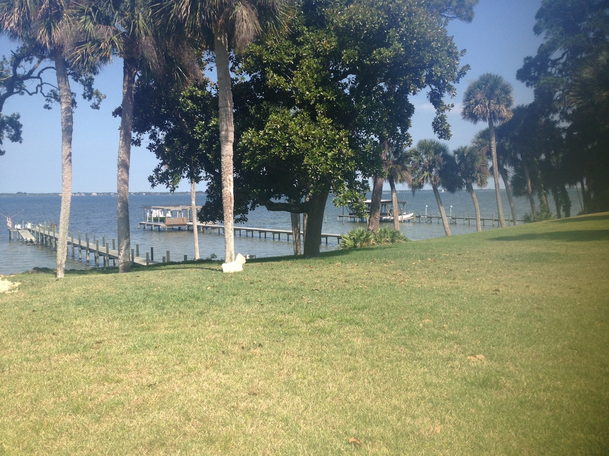 waterfront view of Space Center