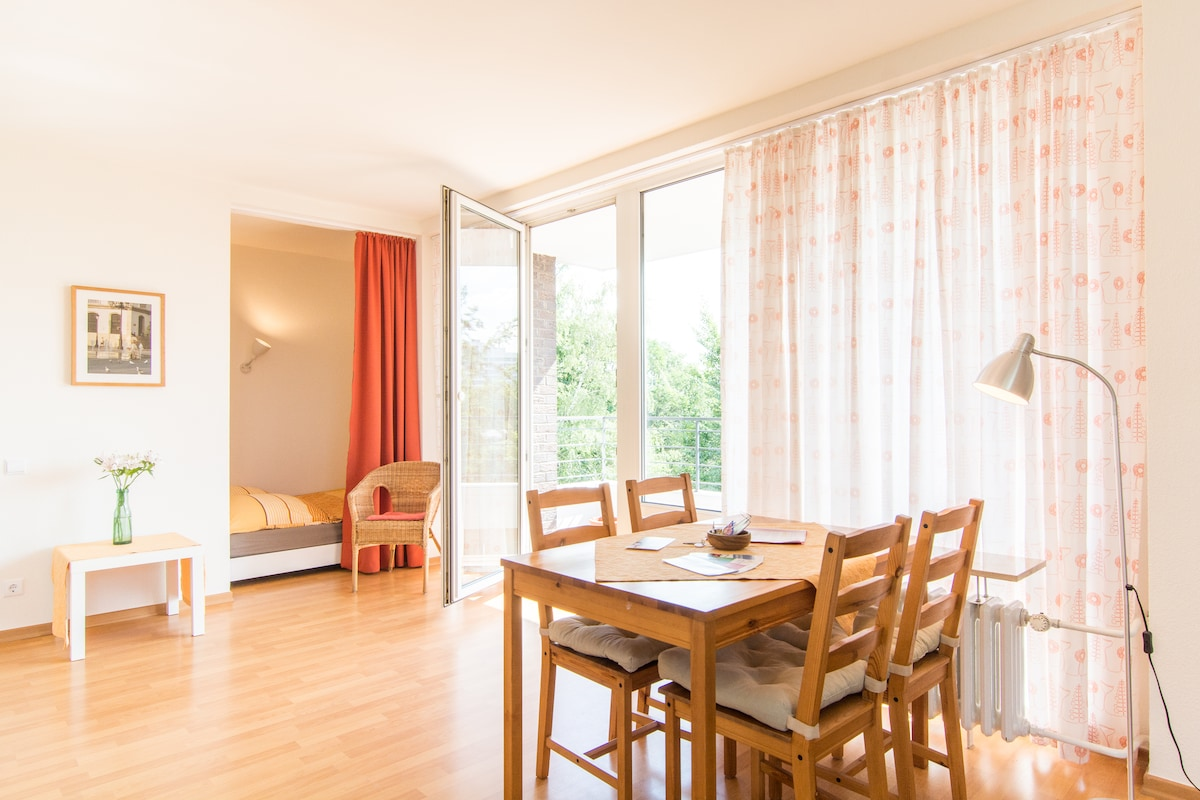 Bright, wifi, balcony, near Rhine!