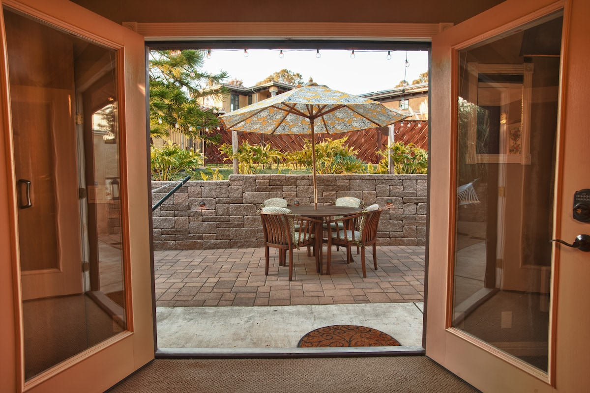 View of patio from inside studio.