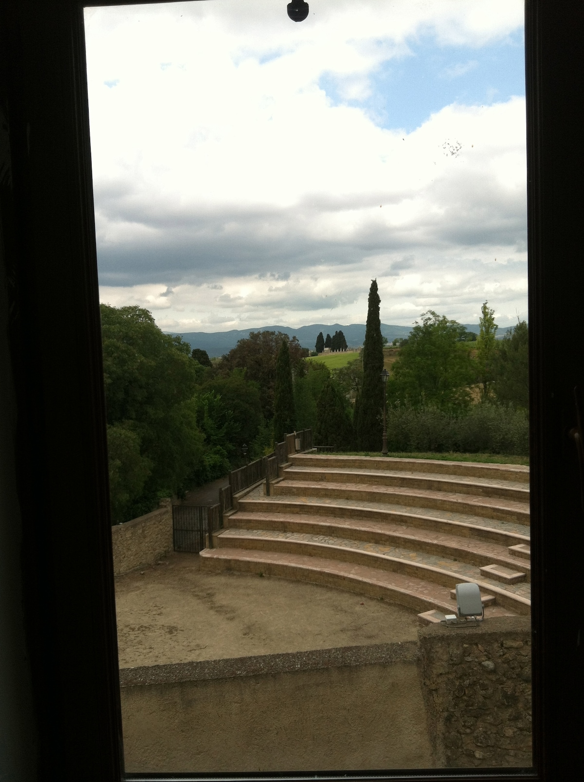 View of amphitheater and vineyards.
