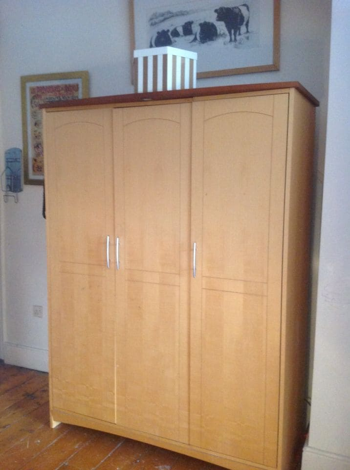 A free standing double wardrobe.
