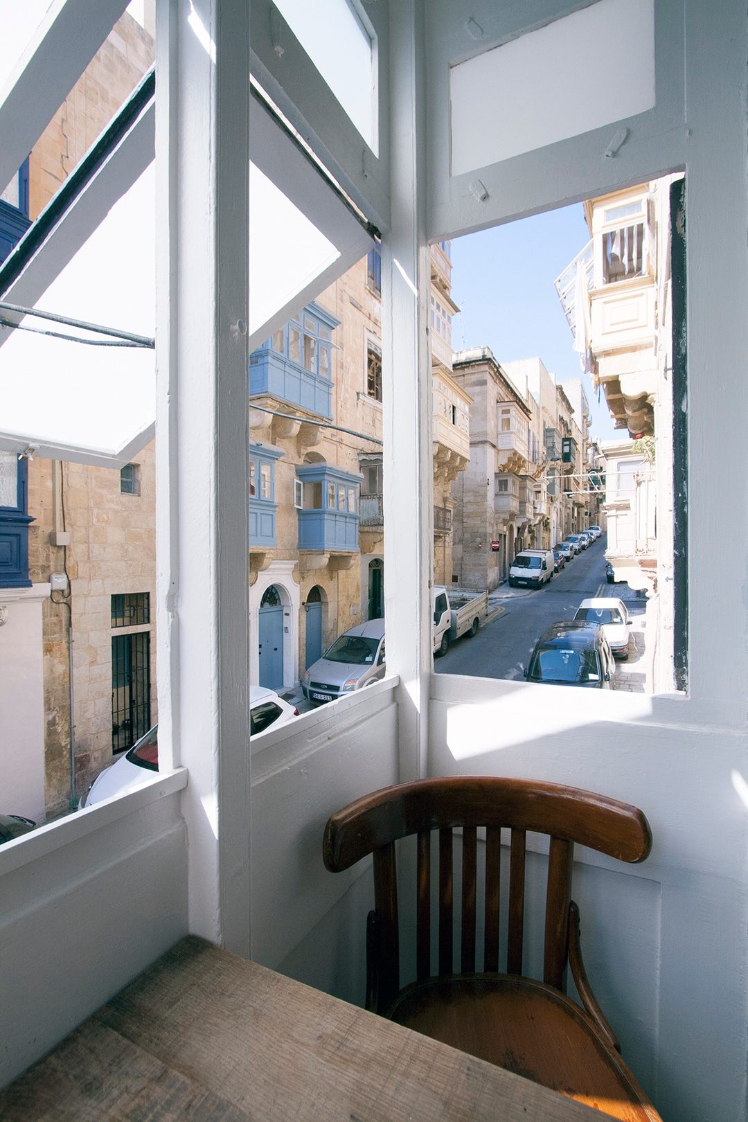 "Open ""gallarija"" to the street below - indoor private terrace."