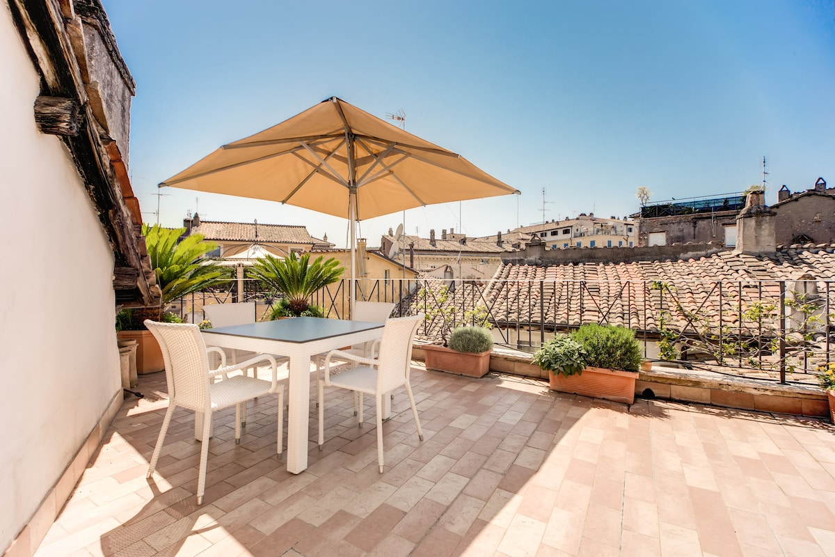 TERRACE overlooking the roman roof with tabl with umbrella ( two floor up the flat)