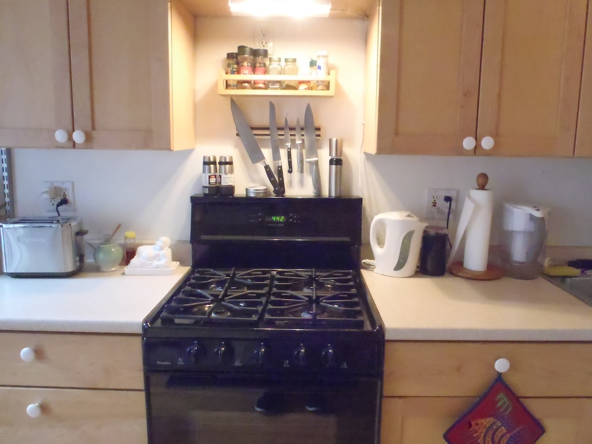 Recently remodeled kitchen with chef's amenities.
