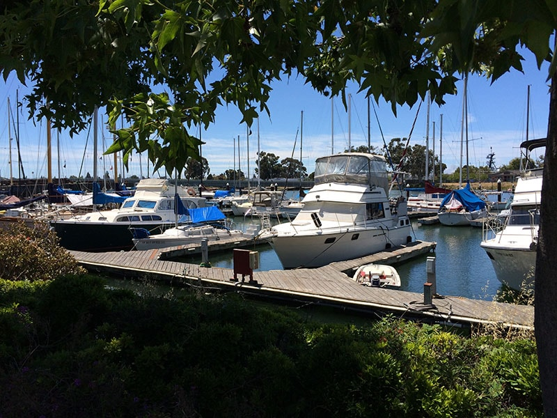 Quaint marina location with beautiful gardens available to relax in.