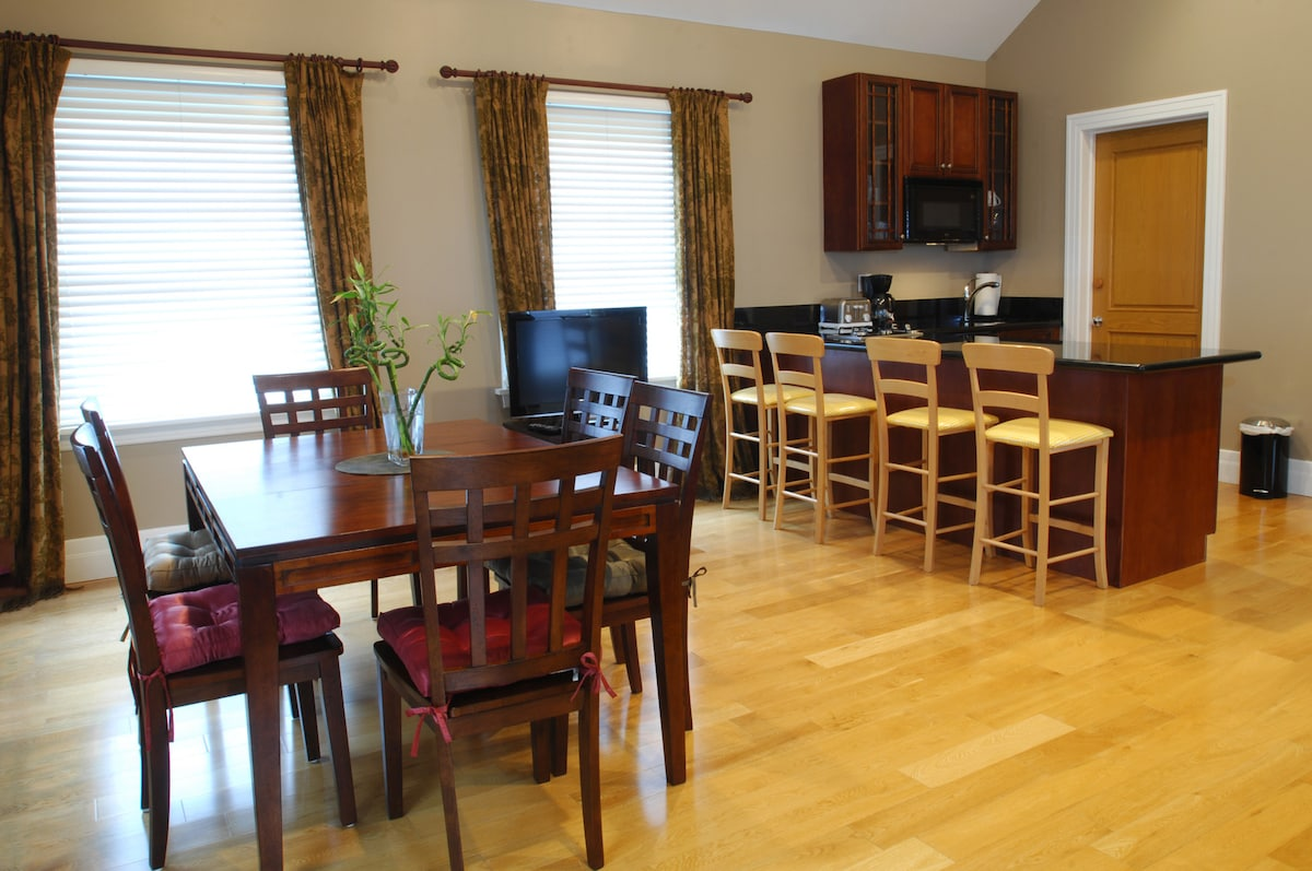 Living and kitchen area view
