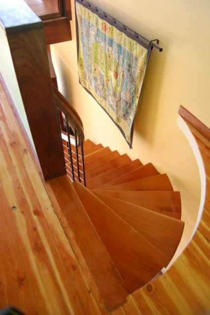 Circular staircase from Master Level to Second floor open concept living level