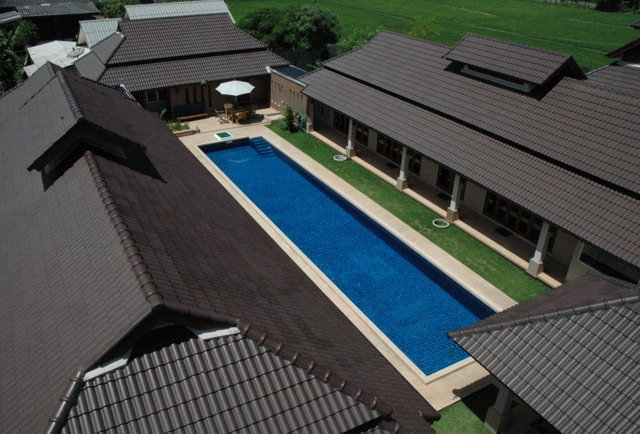 Birdseye view of pool and inner courtyard.