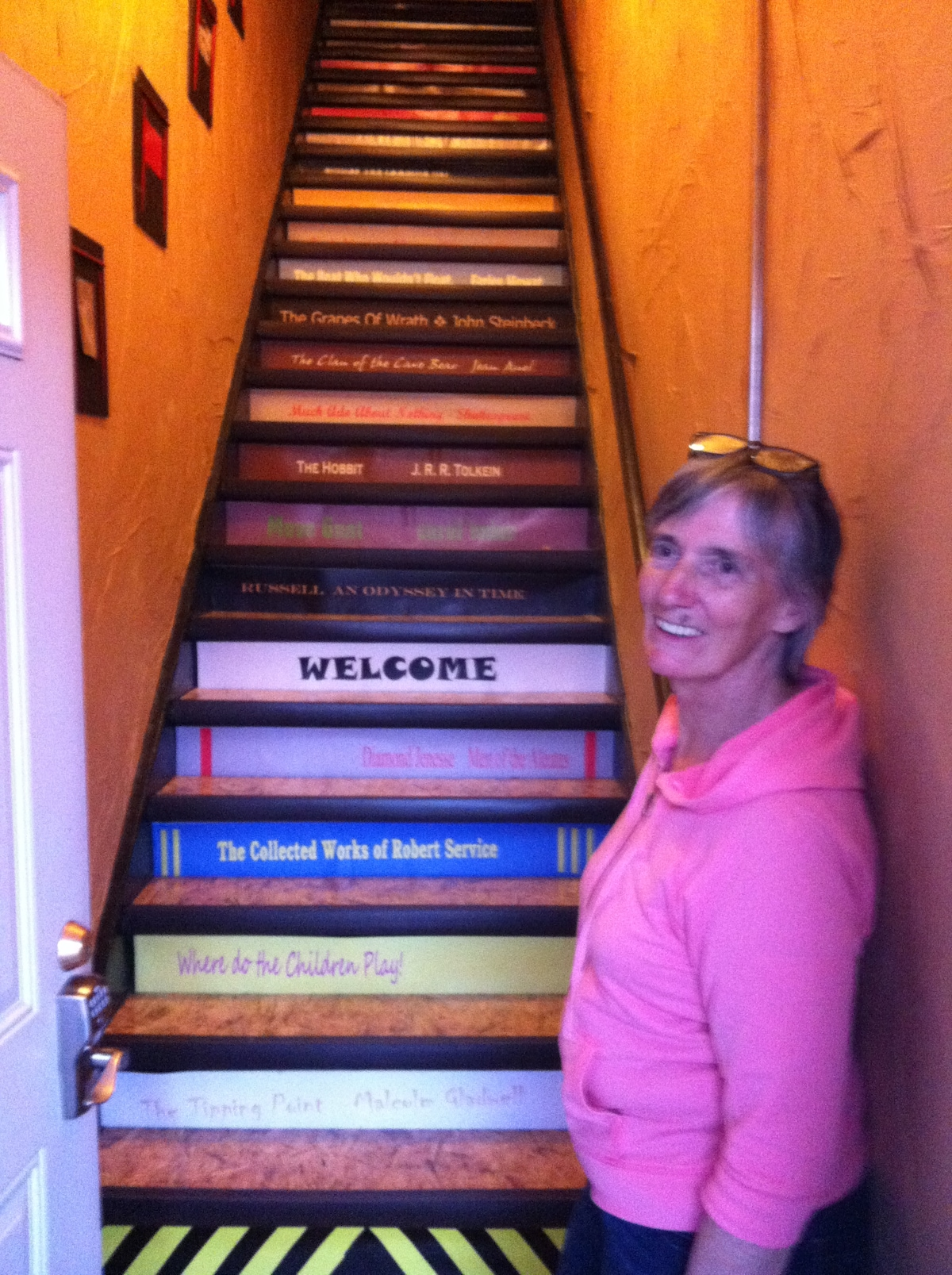 View from the bottom of the stairs with host Carol welcoming you!
