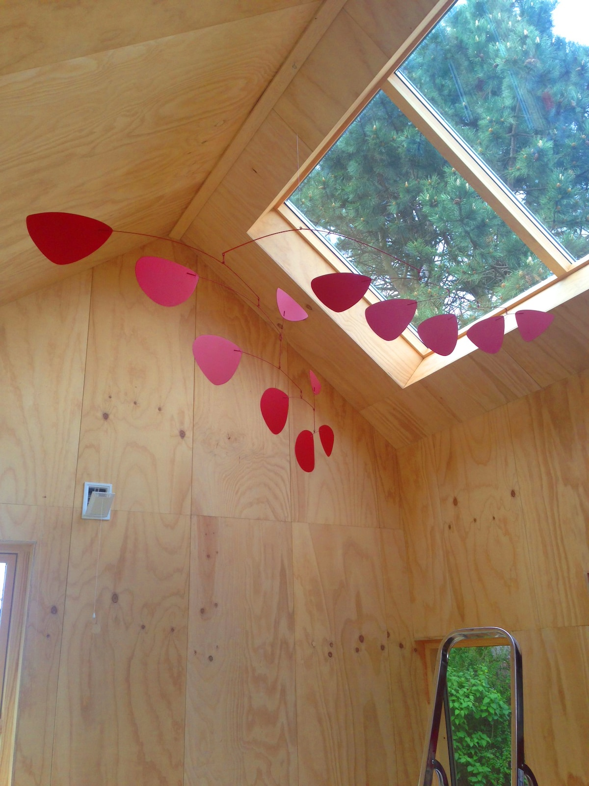 Our big 'Calder' mobile and the huge skylight windows