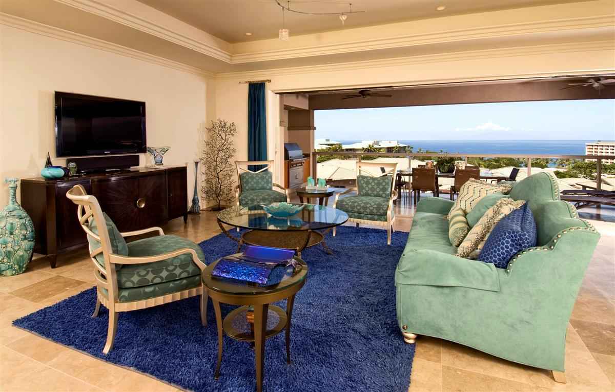 Great Room looking towards our Lanai and Ocean