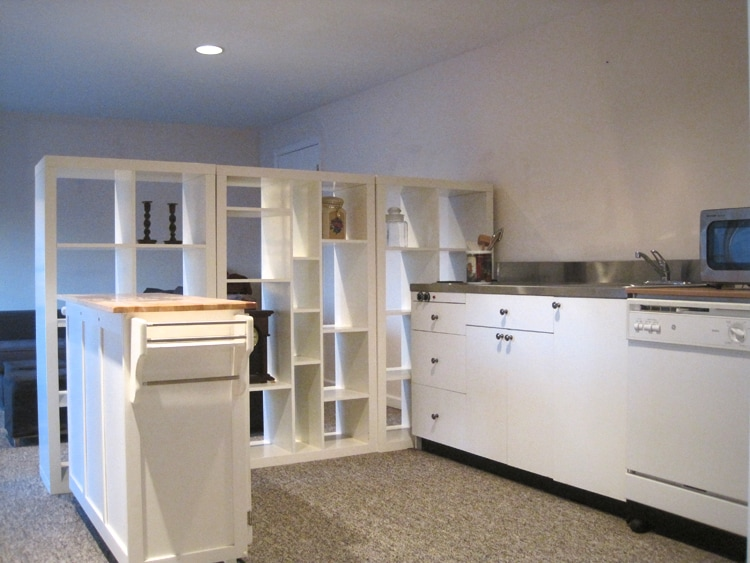 Plenty of storage and surface area in the open kitchen.