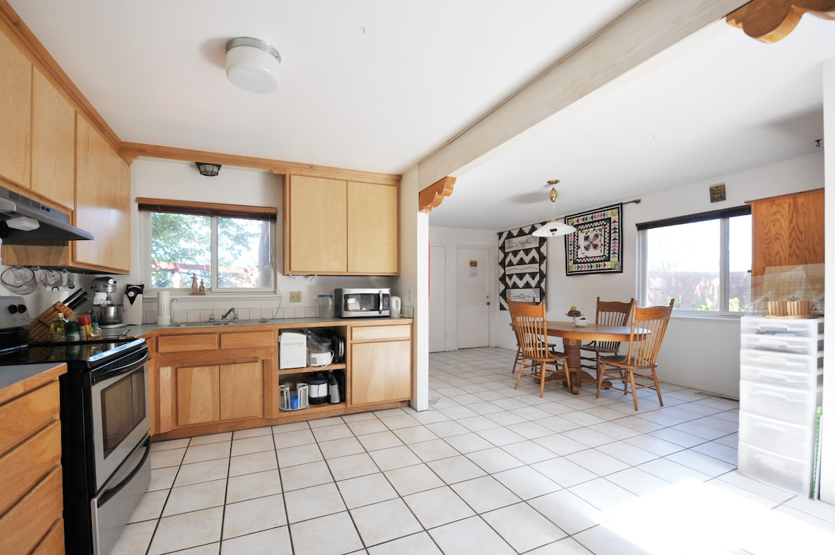 The kitchen/dining room space.