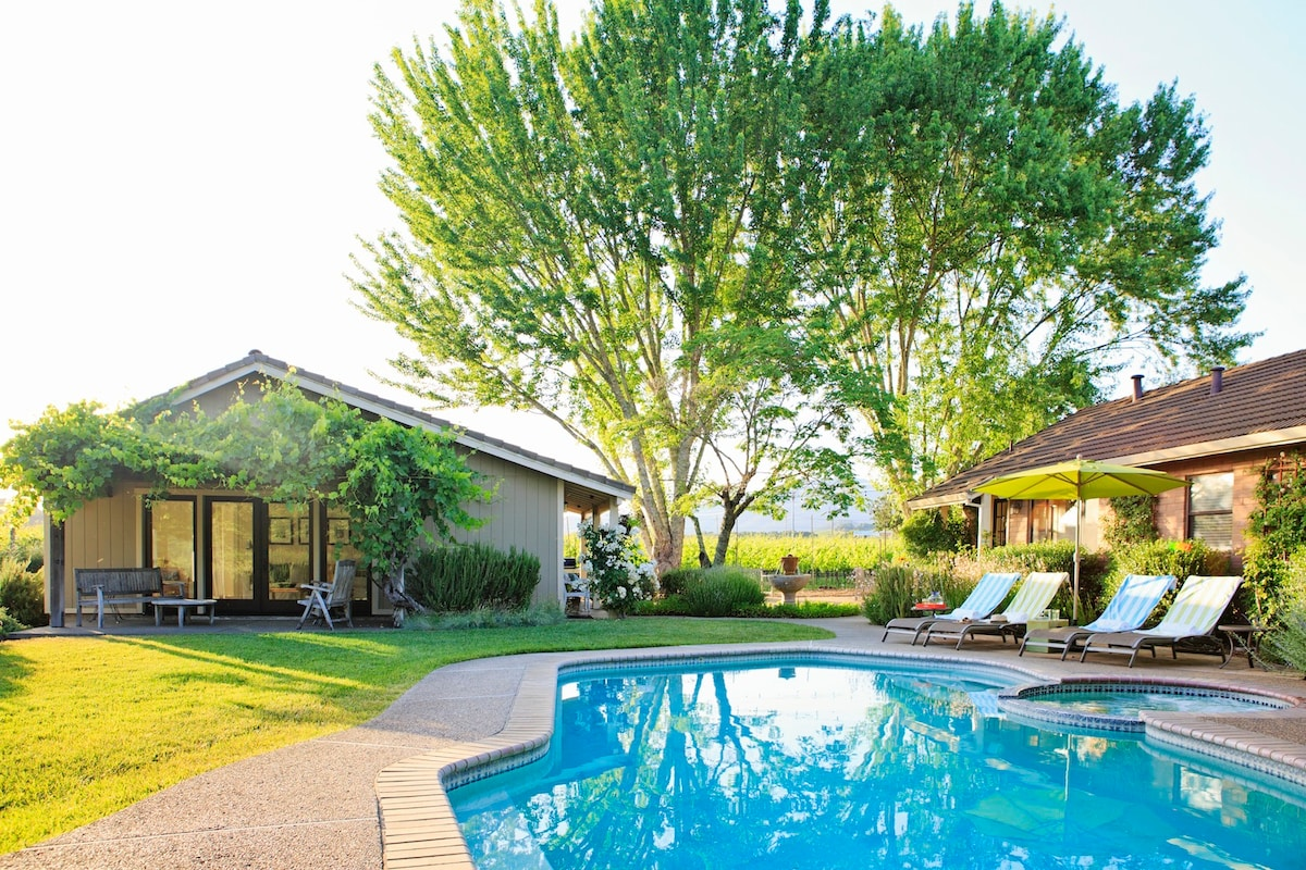 Relax poolside overlooking vineyard and hills. This scenic Glen Ellen escape is minutes away to Sonoma Valley wineries and an easy walk to neighboring tasting rooms.  In addition to the main home, a private cottage is included in your rental.