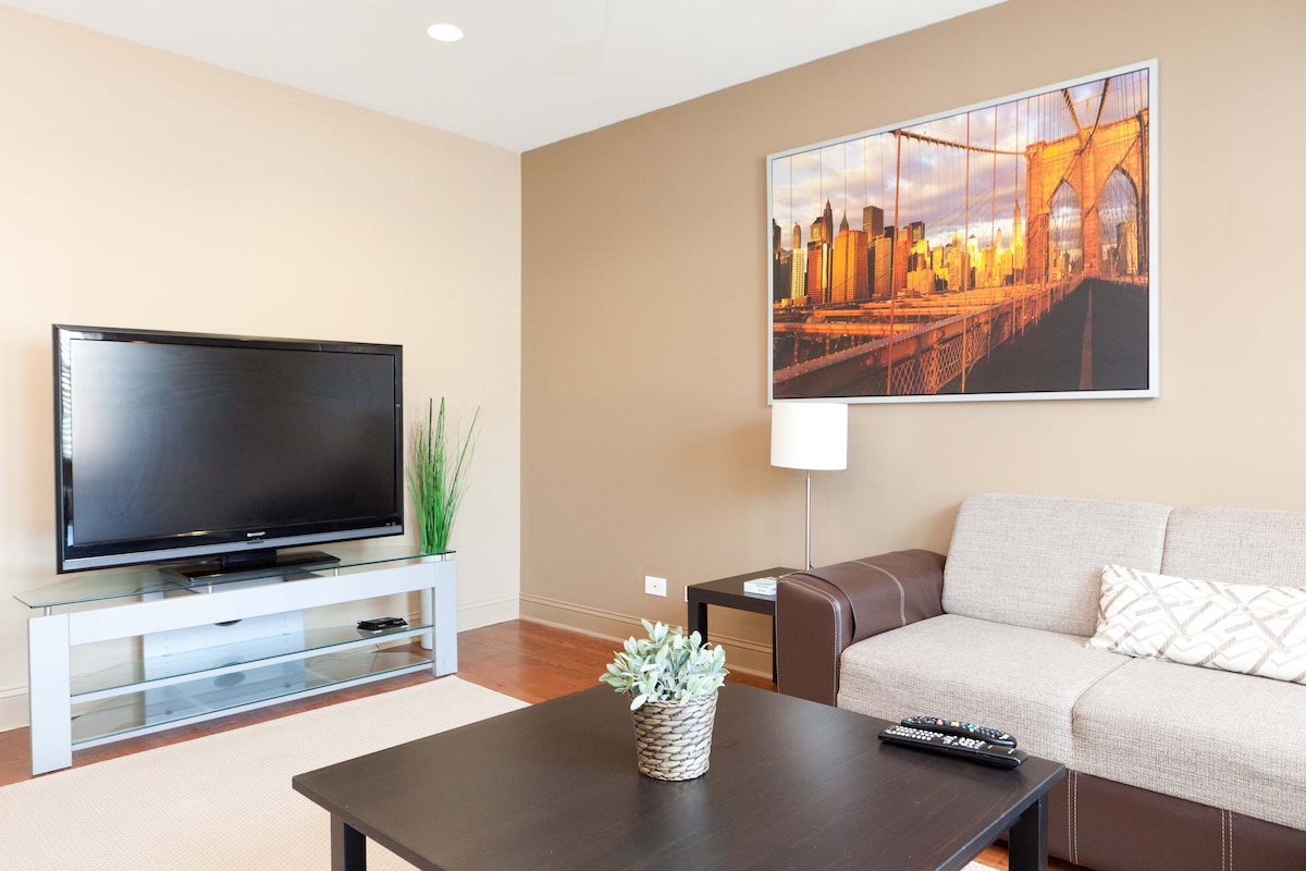 Modern luxury, 52inch TV. Great to watch the big game or a movie, we have cable including HBO and other premium channels.