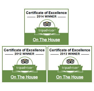 In appreciation of our excellent service  - Certificate of Excellence - 3 years running.