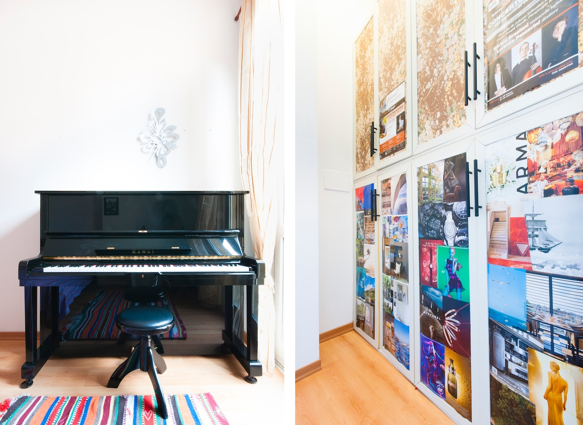 The piano and the closet for clothes