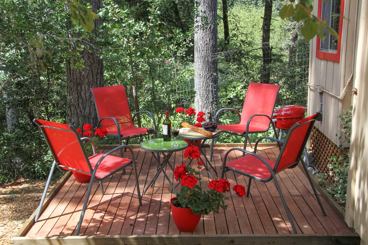 Your private shaded backyard deck with hammock and dog play area.