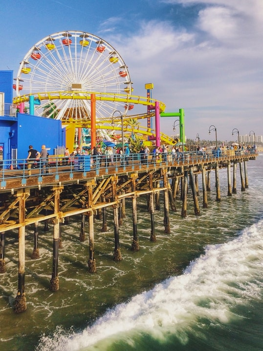 famous pier at the end of Route 66, 4 blocks away with carnival rides right on pier