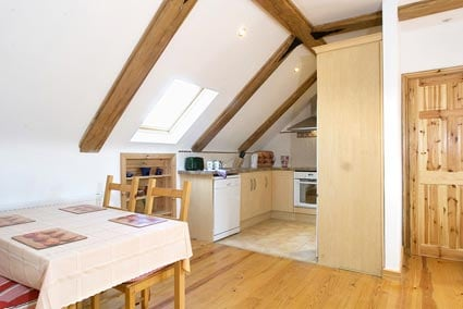 Well equipped kitchen with ceramic cooker, dishwasher, fridge-freezer, microwave, kettle etc.