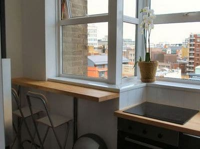 kitchen with stunning view eastward