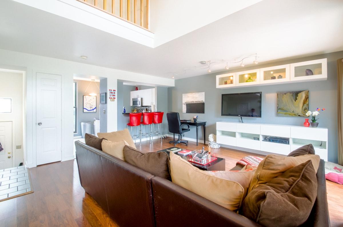 The 24 foot ceiling creates an amazing loft feel on the main living floor.