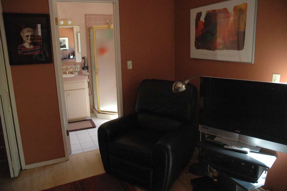 Large, flat screen TV and comfy reading chair