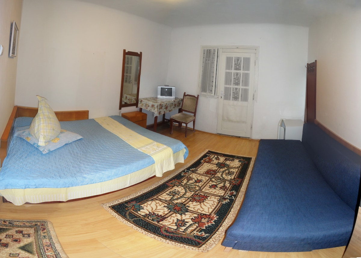 Room with a double bed and a sofa